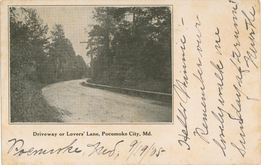 Front Side of Post Card, Lovers Lane